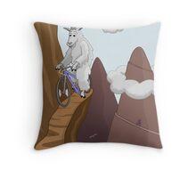 Mountain Bike Goats Throw Pillow