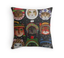 Cats in Winter Hats Throw Pillow