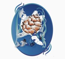Big White Turtle and Friends Oval by Lotacats
