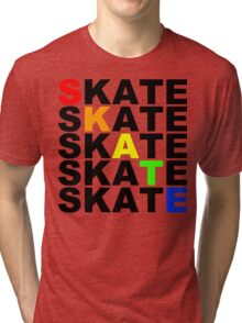 skate textstacks Tri-blend T-Shirt