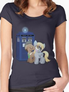 Derpy and the Doctor (My Little Pony: Friendship is Magic) Women's Fitted Scoop T-Shirt