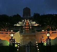 Shrine of the Bab at Night Haifa, Israel by ibadishi