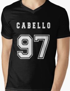 CABELLO - 97 // White Text Mens V-Neck T-Shirt