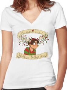 Kiss my Holly Jolly Ass Women's Fitted V-Neck T-Shirt