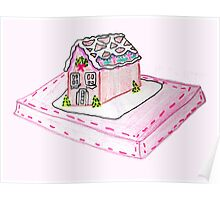 Pink Gingerbread House Poster