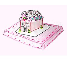 Pink Gingerbread House Photographic Print
