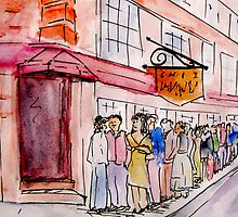 Restaurant Queue in watercolour by digestmag