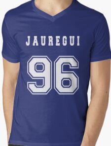 JAUREGUI - 96 // White Text Mens V-Neck T-Shirt