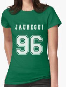 JAUREGUI - 96 // White Text Womens Fitted T-Shirt
