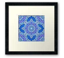 Ornate blue waves pattern Framed Print