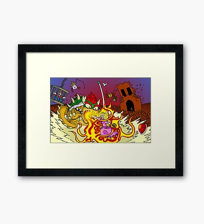 Conflagration in the Mushroom Kingdom Framed Print