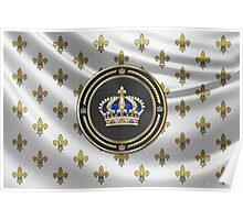 Royal Crown of France over Royal Standard  Poster