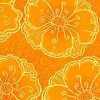 Ornate orange flowers pattern by 1enchik
