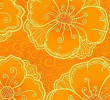 Ornate orange flowers pattern by 1enchik