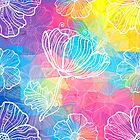 Rainbow triangles with white flowers by 1enchik