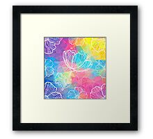 Rainbow triangles with white flowers Framed Print