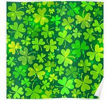 Green magic clovers pattern Poster