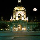 Moon over Pasadena City Hall. by philw