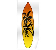 Surfboard Palm Trees (Sunset) Poster