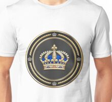 Royal Crown of France over White Leather  Unisex T-Shirt