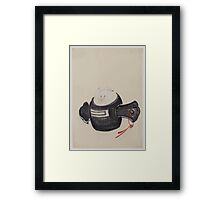 Mouse facing front sitting on a mallet with red ribbon through a hole in the handle 001 Framed Print