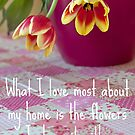 Tulips On The Tablecloth. by LittlePhotoHut