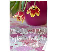 Tulips On The Tablecloth. Poster