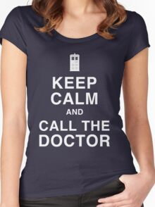 Keep Calm and Call the Doctor Women's Fitted Scoop T-Shirt