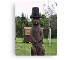 Groundhog statue Canvas Print