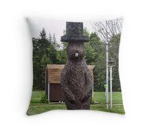 Groundhog statue Throw Pillow