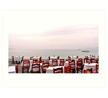 Red Cafe Chairs Art Print