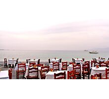 Red Cafe Chairs Photographic Print