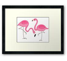 Cute Pink Flamingos Illustration Framed Print