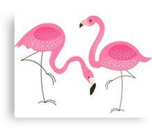 Cute Pink Flamingos Illustration Canvas Print