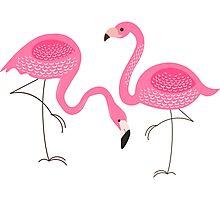 Cute Pink Flamingos Illustration Photographic Print