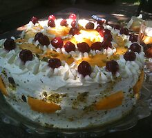 Saying Happy Birthday with mango cake, fresh whipped cream and love by MarianBendeth