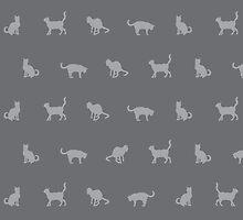 Grey Cute Cat Pattern by thejoyker1986