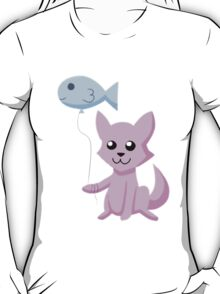 Cat and Balloon (pink) T-Shirt