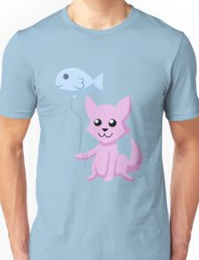 Cat and Balloon (pink) Unisex T-Shirt