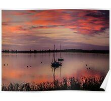 Boat waiting for sunrise Poster