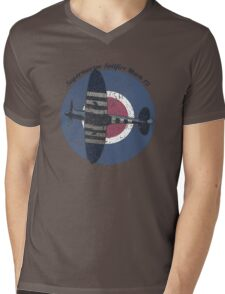 Vintage Fighter Plane Supermarine Spitfire Mark 19 Mens V-Neck T-Shirt