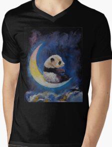 Crescent Moon Mens V-Neck T-Shirt