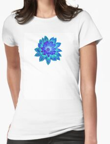 Blue Fantasy Flower Womens Fitted T-Shirt