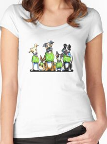 Think Adoption   Green Tee Shelter Dogs Women's Fitted Scoop T-Shirt
