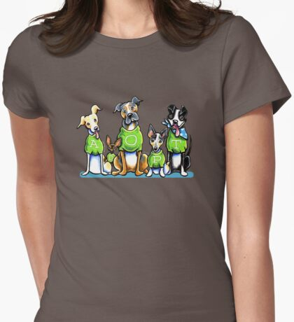 Think Adoption | Green Tee Shelter Dogs (Design for Dark) Womens Fitted T-Shirt