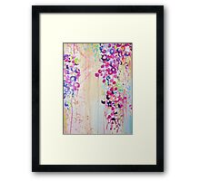 DANCE OF THE SAKURA - Pretty Cherry Blossoms Japanese Floral, Whimsical Abstract Acrylic Painting Framed Print
