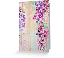 DANCE OF THE SAKURA - Pretty Cherry Blossoms Japanese Floral, Whimsical Abstract Acrylic Painting Greeting Card