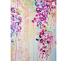DANCE OF THE SAKURA - Pretty Cherry Blossoms Japanese Floral, Whimsical Abstract Acrylic Painting Photographic Print