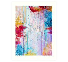 HAPPY TEARS - Bright Cheerful Rainy Day Abstract, Pretty Feminine Whimsical Acrylic Fine Art Painting Art Print