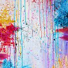 HAPPY TEARS - Bright Cheerful Rainy Day Abstract, Pretty Feminine Whimsical Acrylic Fine Art Painting by EbiEmporium